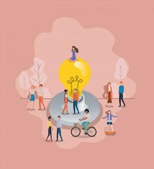 Gruppe von menschen mit glühbirne avatar charakter