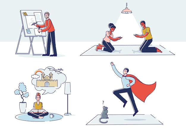Gruppe von menschen mit guter vorstellungskraft: charaktere, die mit schatten spielen, zeichnen, träumen, lesen und superhelden sein