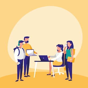 Gruppe von menschen mit technologie