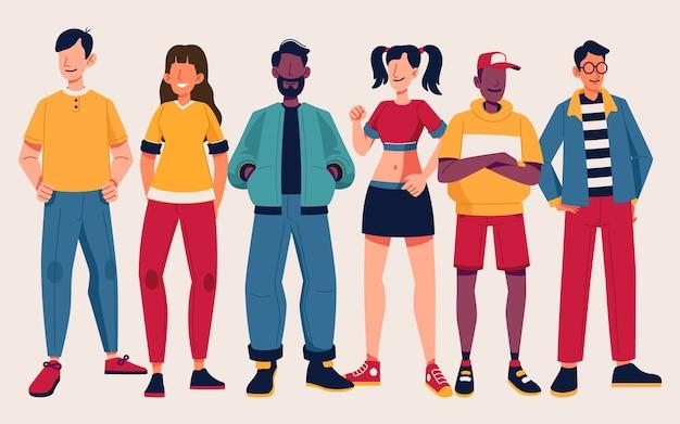 Gruppe von menschen mit trendiger kleidung
