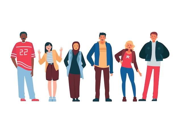 Gruppe von menschen mit unterschiedlichen kulturen