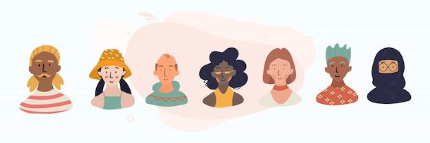 Gruppe von menschen mit unterschiedlichen nationalitäten. afrikaner, chinesen, europäer, araber