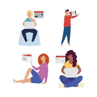Gruppe von menschen online-nachrichten