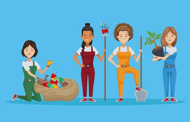 Gruppe von menschen pflanzen und recyceln