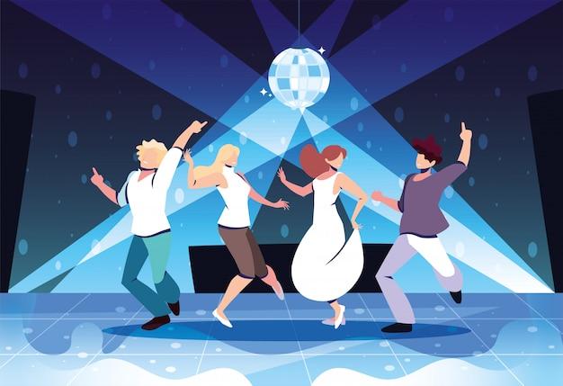 Gruppe von menschen tanzen in nachtclub, party, tanzclub, musik und nachtleben