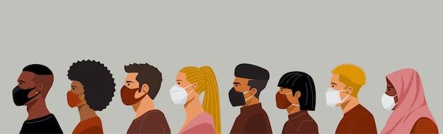 Gruppe von menschen verschiedener nationalitäten, die schutzmasken tragen