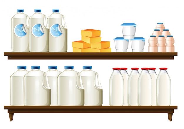 Gruppe von milchprodukten