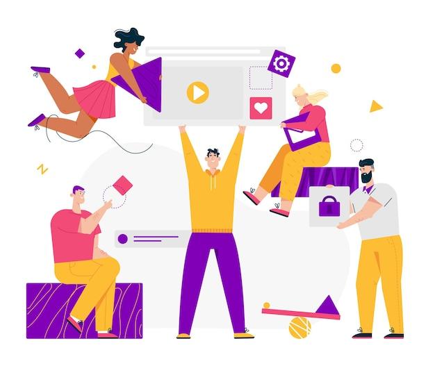 Gruppe von mitarbeitern, die gemeinsam am projekt arbeiten. partnerschaft teamwork mann und frau entwickelt webseite zu videoinhalten