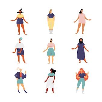Gruppe von neun weiblichen charakteren mit verschiedenen kleidillustrationen