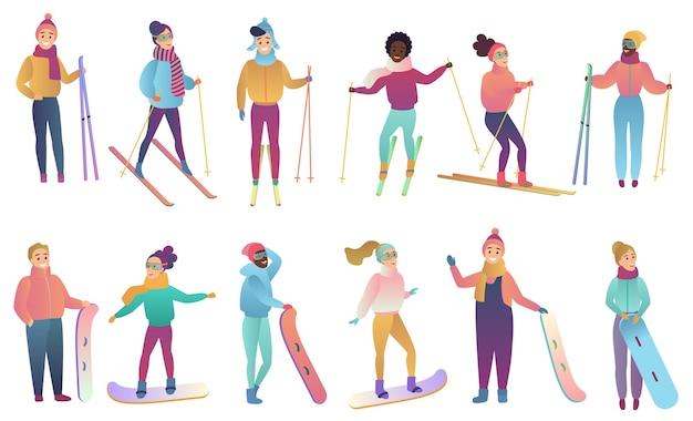 Gruppe von niedlichen cartoon-skifahrern und snowboardern in trendigen verlaufsfarben.