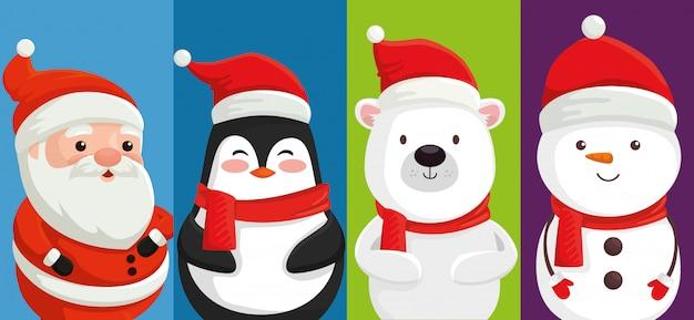Gruppe von niedlichen charakteren weihnachten