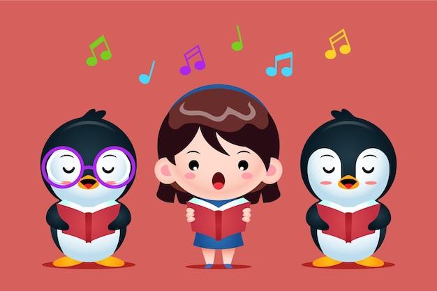 Gruppe von niedlichen pinguinen und mädchen, die in einem chor singen