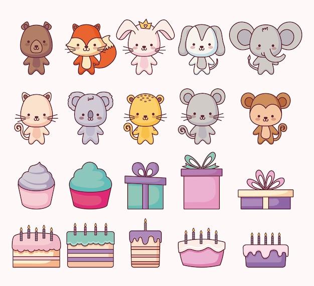 Gruppe von niedlichen tieren und icons