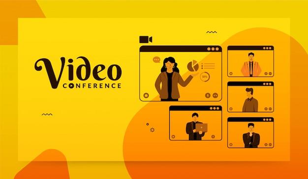 Gruppe von personen auf computerbildschirm zusammen, videokonferenzkonzept