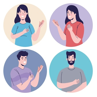 Gruppe von personen avatare zeichen