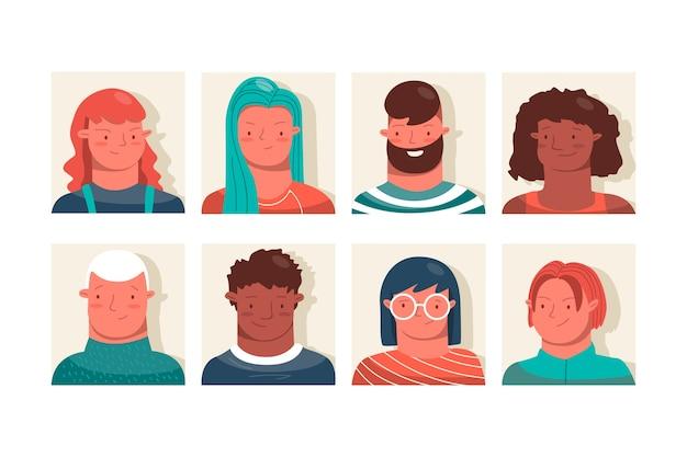 Gruppe von personen avatarsammlung Kostenlosen Vektoren