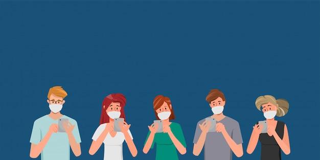 Gruppe von personen, die eine schutzmaske als schutz-coronavirus tragen.