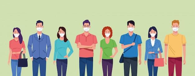Gruppe von personen, die gesichtsmaske für koronavirus verwenden