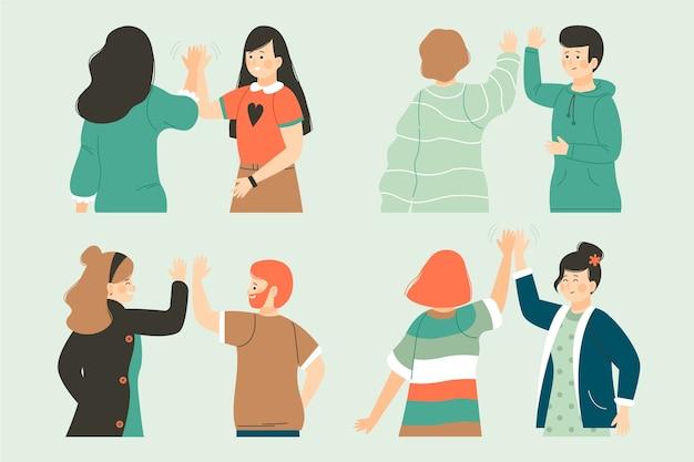 Gruppe von personen, die hoch fünf gibt