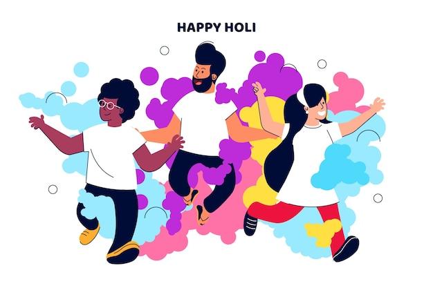 Gruppe von personen, die holi festival feiert