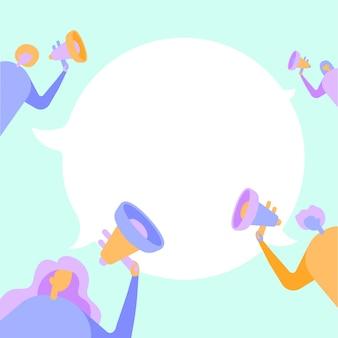 Gruppe von personen, die ihre megafone halten, die miteinander reden und ideen austauschen, um cloud zu chatten. mob-strichzeichnung, die eine neue ankündigung macht.