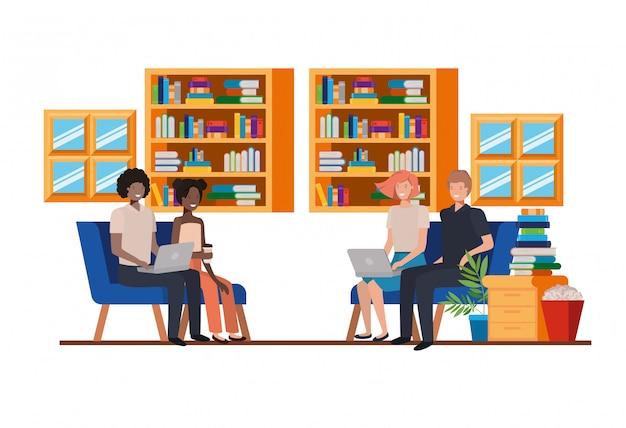 Gruppe von personen, die im arbeitsbüro sitzt