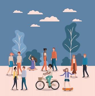 Gruppe von personen, die im park aktiv sind