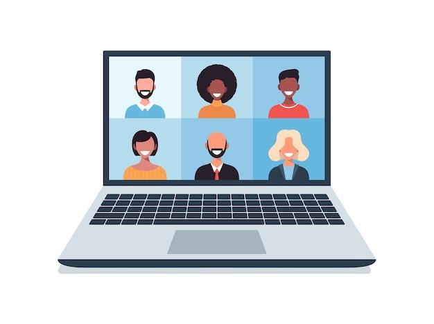 Gruppe von personen, die in der sozialen distanzierenden illustration der videokallkonferenz sprechen