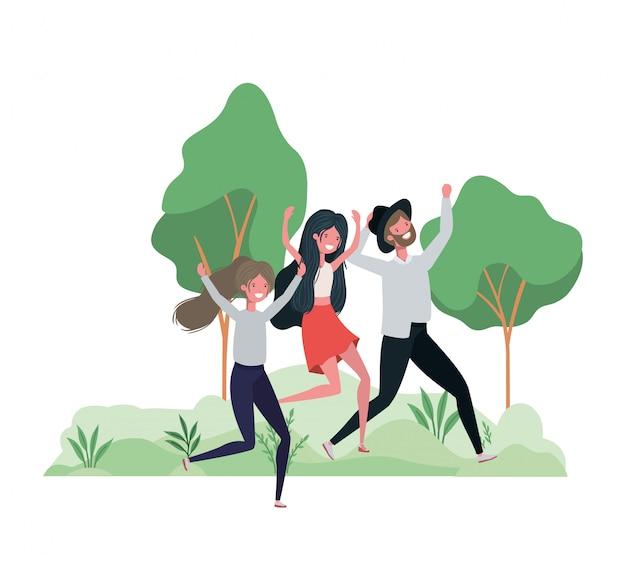 Gruppe von personen, die in landschaft mit bäumen und pflanzen tanzt