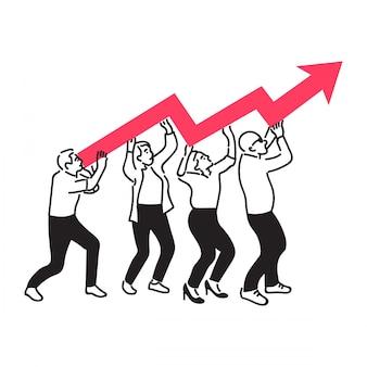 Gruppe von personen, die indikatordiagramm des wachstums im geschäft steht und hält.