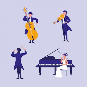 Gruppe von personen, die musikinstrumente spielt