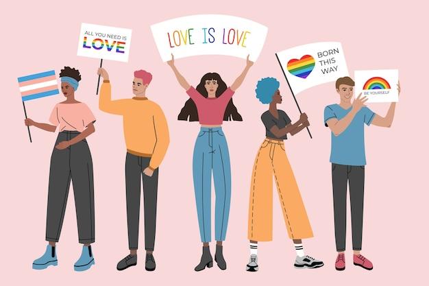 Gruppe von personen, die plakate, symbole, zeichen und fahnen mit lgbt regenbogen, schwulenparade, stolzmonat halten.