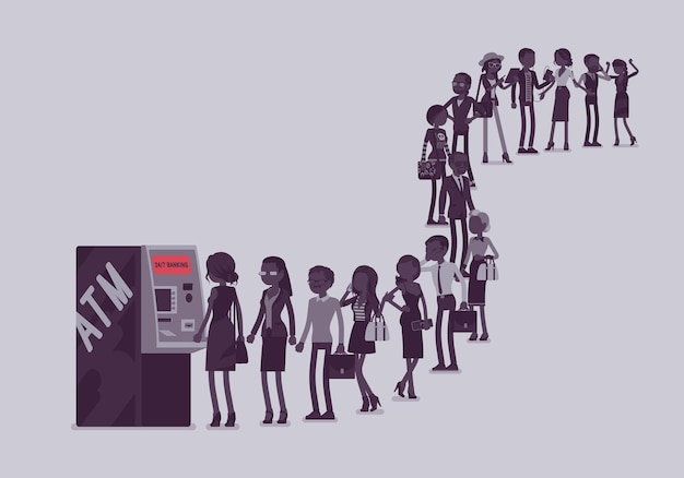 Gruppe von personen, die sich in einer schlange in der nähe des geldautomaten anstellen