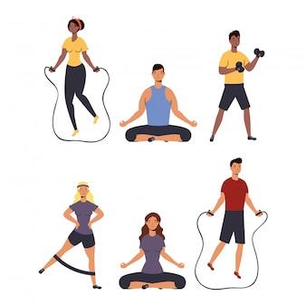 Gruppe von personen, die sportliche aktivitäten im haus ausüben