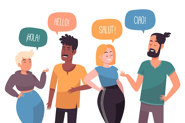 Gruppe von personen, die verschiedene sprachen spricht Premium Vektoren