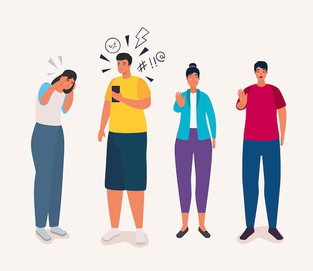 Gruppe von personen, die von cyber-mobbing betroffen sind