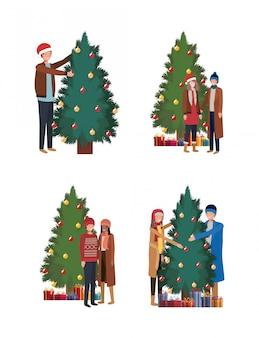 Gruppe von personen, die weihnachtsbäume verziert