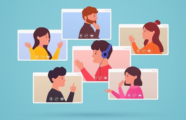 Gruppe von personen für videokonferenzen und webkommunikation. männer und frauen verbinden sich, lernen, online mit telefonkonferenzen. konzept, das von zu hause aus und überall arbeitet.