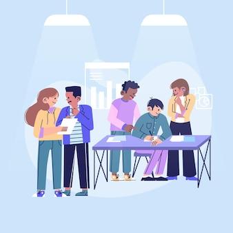 Gruppe von personen in kaufmännischer ausbildung