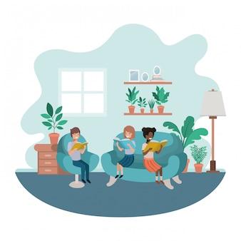 Gruppe von personen mit buch im wohnzimmeravataracharakter