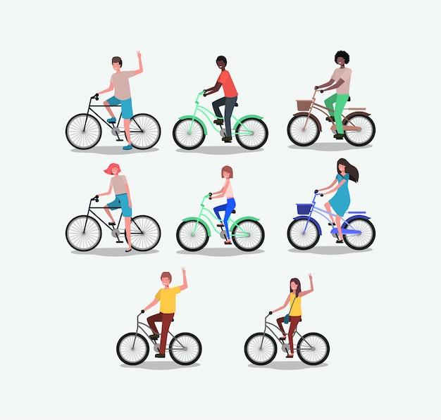 Gruppe von personen mit dem fahrrad