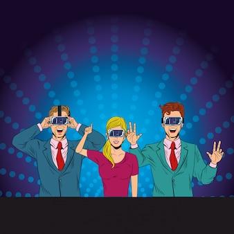 Gruppe von personen mit kopfhörer der virtuellen realität