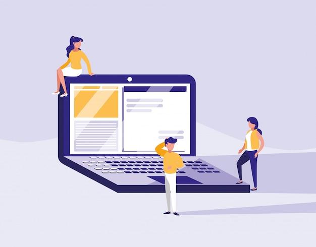 Gruppe von personen mit laptop-computer