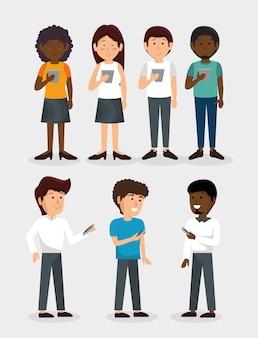 Gruppe von personen mit smartphone