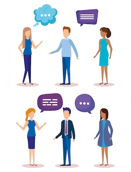 Gruppe von personen mit spracheblasen