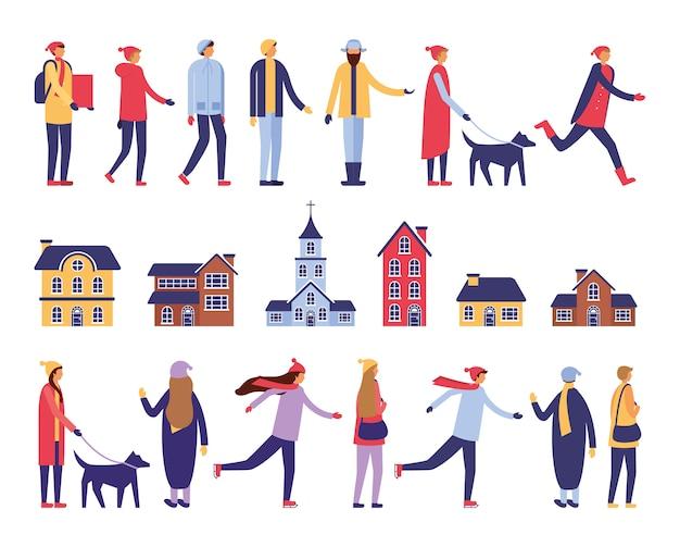 Gruppe von personen mit winterkleidung und -gebäuden