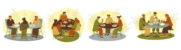 Gruppe von personen oder freunden, die sich im café-banner treffen