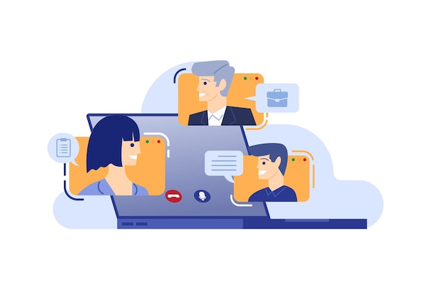 Gruppe von personen online-meeting mit videokonferenz-vektor-illustration