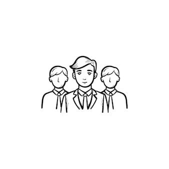 Gruppe von personen, teammitglieder handgezeichnete vektor-umriss-doodle-symbol. arbeitsgruppe skizzenillustration für print, web, mobile und infografiken isoliert auf weißem hintergrund.