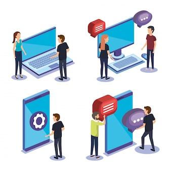 Gruppe von personenen-teamarbeit mit elektronikgeräten
